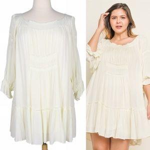 Boho Cloud 2X Flowy Off White Smocked Ruffle Dress